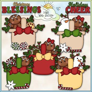 Christmas Gingerbread Baskets Clip Art - Christmas Clip Art - CU Clip Art & B&W