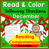 Read and Color to Follow Directions Activities   Reading Comprehension  December