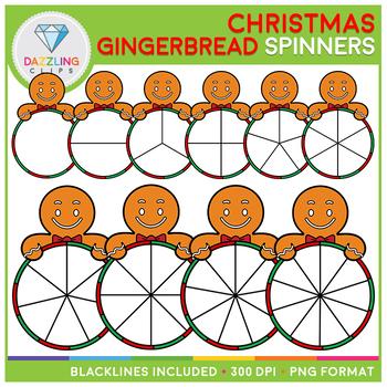 Christmas Gingerbread Boy Spinners Clip Art