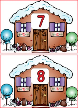 Christmas Gingerbread House and Men with Peppermint Counting mats