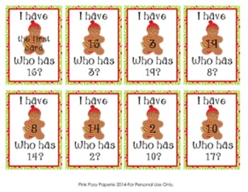 Christmas Gingerbread I Have Who Has? Number Recognition Game 1-20