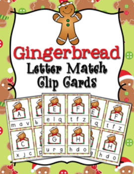 Christmas Gingerbread Letter Match Clip Cards
