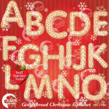 Christmas Gingerbread Letters Clipart, Christmas Alphabet Clipart, AMB-1491