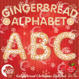 Christmas Gingerbread Letters Clipart, Christmas Alphabet