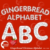 Christmas Gingerbread Letters Stamps Clipart, Black line Alphabet, AMB-2278