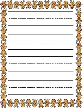 Christmas / Noël ~ Primary Illustrated Writing Paper ~ Gingerbread Man