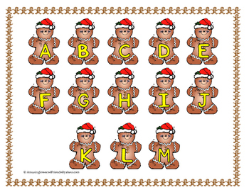 Christmas Gingerbread Man Letter Matching File Folder Game
