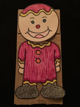 Christmas Gingerbread Man Paper bag puppet