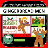 Christmas Gingerbread Men Number Puzzles - 20 Number Puzzles 1-10 + Times Tables