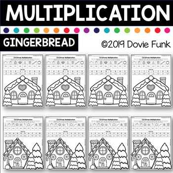 Christmas Gingerbread Multiplication Coloring Worksheets