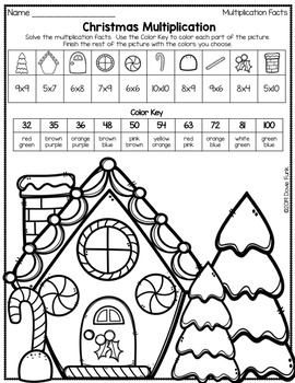 Christmas Gingerbread Multiplication Coloring Worksheets ...