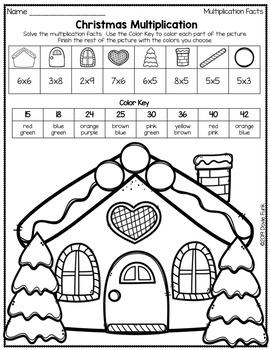 Christmas Gingerbread Multiplication Coloring Worksheets ...