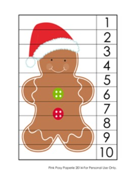 Christmas Gingerbread Number Counting Strip Puzzles - 5 Di
