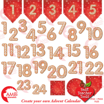 Christmas Gingerbread Numbers Clipart, Christmas Advent Calendar, AMB-1527