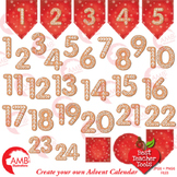 Christmas Gingerbread Numbers Clipart, Christmas Advent Ca
