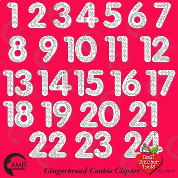 Christmas Gingerbread Numbers DIGITAL STAMPS Clipart, Advent Calendar, AMB-1841