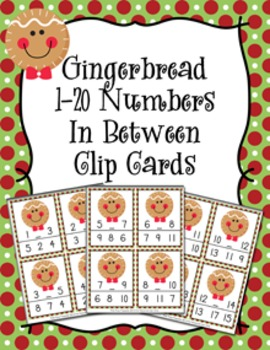 Christmas Gingerbread Numbers In Between Clip Cards