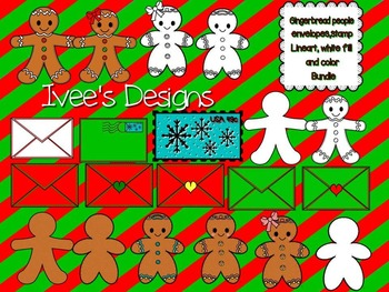 Christmas Gingerbread People- Stamps - Envelopes