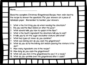 Christmas Gingerbread Recipe: Read for information and sequence of events