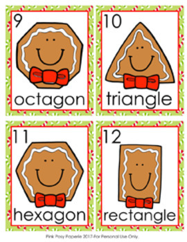 Christmas Gingerbread Shapes Write the Room