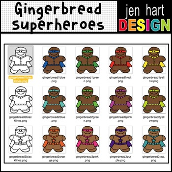 Christmas Gingerbread Superheroes Clipart