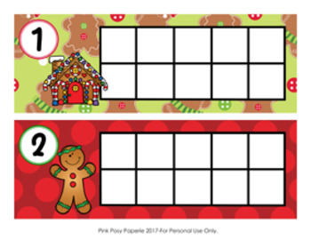 Christmas Gingerbread Ten Frame Cards