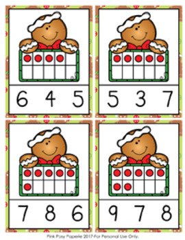 Christmas Gingerbread Ten Frames Count and Clip Cards Numbers 0-10