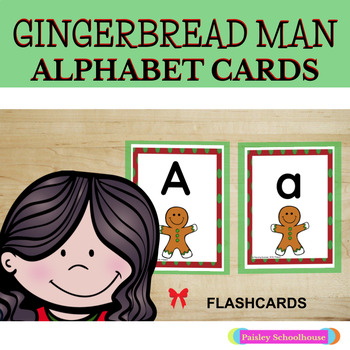 Alphabet Cards with Uppercase & Lowercase - Christmas: Gingerbread Man-Themed