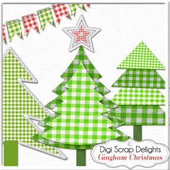 Christmas Gingham Clip Art