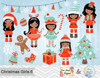 Christmas Girl Clip Art Teal Orange African American Christmas Girl ClipArt 0214
