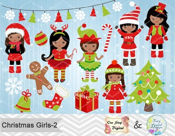 Christmas Girls Clip Art, Red and Green African American Christmas Girls 00210