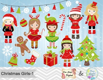 Christmas Girls Clip Art, Red and Green Christmas Girls Clip Art, 00209