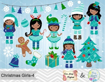 Christmas Girls Clip Art Teal Blue Green African American Christmas Girls 0212