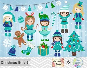 Christmas Girls Clip Art, Teal Blue Green Christmas Girls Clip Art, 00211