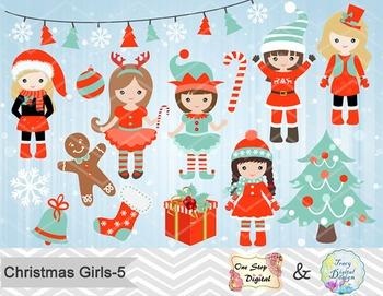 Christmas Girls Clip Art, Teal Blue Orange Christmas Girls Clip Art, 00213