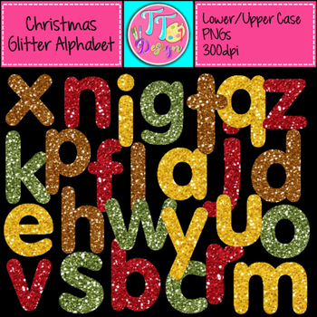 Christmas Glitter Alphabet (Lower and Upper) Clip Art CU OK