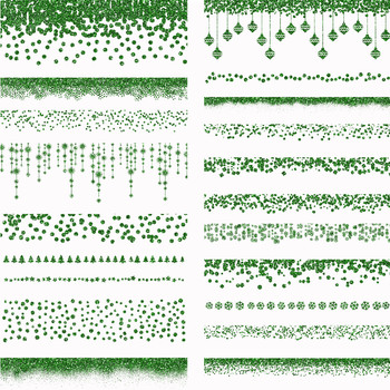 Christmas Glitter Borders PNG Overlays - 40 Red and Green Clipart Images