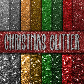 Christmas Glitter Digital Paper Pack - 16 Different Papers - 12inx12in