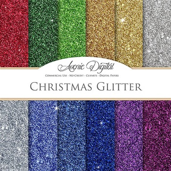 Christmas Glitter Textures Background Digital Paper scrapbook red green purple