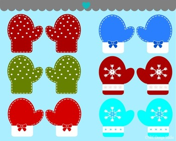 Christmas gloves winter clipart commercial use
