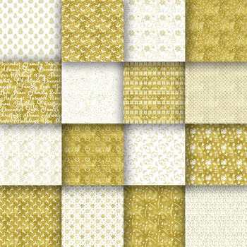 Christmas Gold Digital Paper Pack - 16 Different Papers - 12inx12in