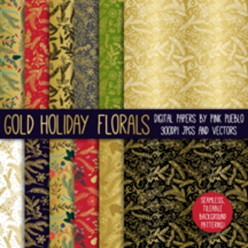 Christmas Gold Foil Digital Paper Scrapbook Paper, Holiday Faux Gold Patterns