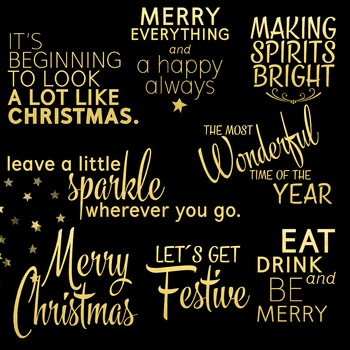 Christmas Gold Foil Overlays {Holidays Faux Gold Lettering}
