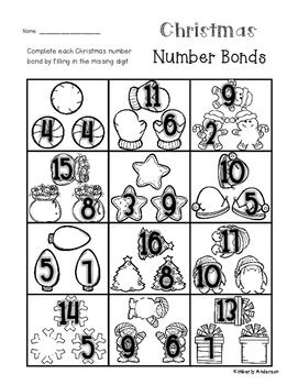 Christmas Goodies Number Bonds - Part / Part / Whole