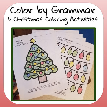 Christmas Grammar Coloring Worksheets By The Middle School Historian