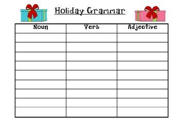 Christmas Grammar (Nouns, Verbs, Adjectives)
