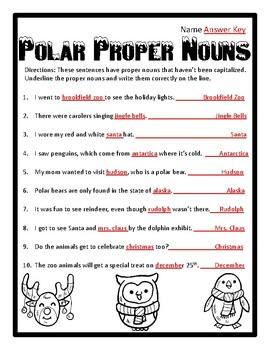 Christmas Proper Nouns Christmas Proper Noun Christmas Grammar Worksheet