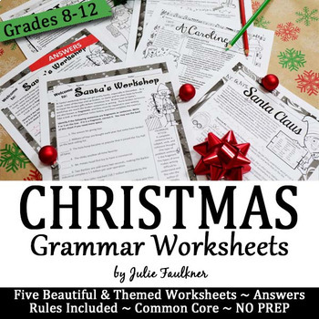 Christmas Grammar Worksheets No Prep Middle And High School By