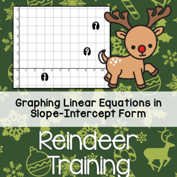 Christmas Graphing - Reindeer Training - Slope Intercept Equations Worksheet
