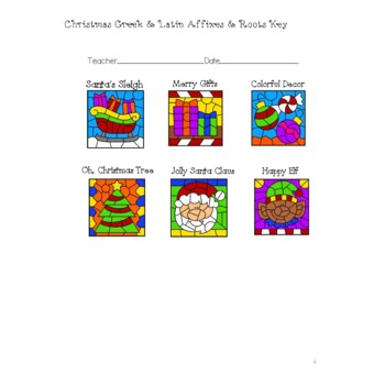 Christmas Greek and Latin Affixes and Roots  Color by Code  Worksheet Packet